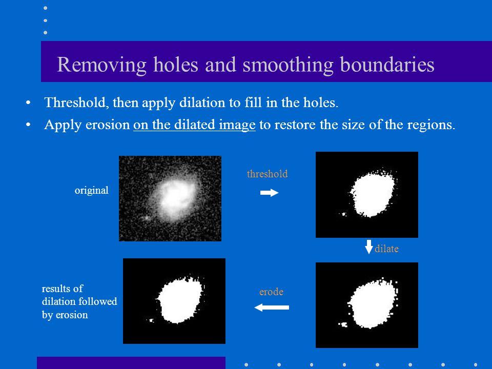 erode() - example Erosion shrinks the regions (i.e., removes a layer of boundary pixels) originalthresholdederoded
