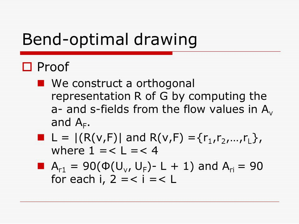 Bend-optimal drawing  Proof We construct a orthogonal representation R of G by computing the a- and s-fields from the flow values in A v and A F.