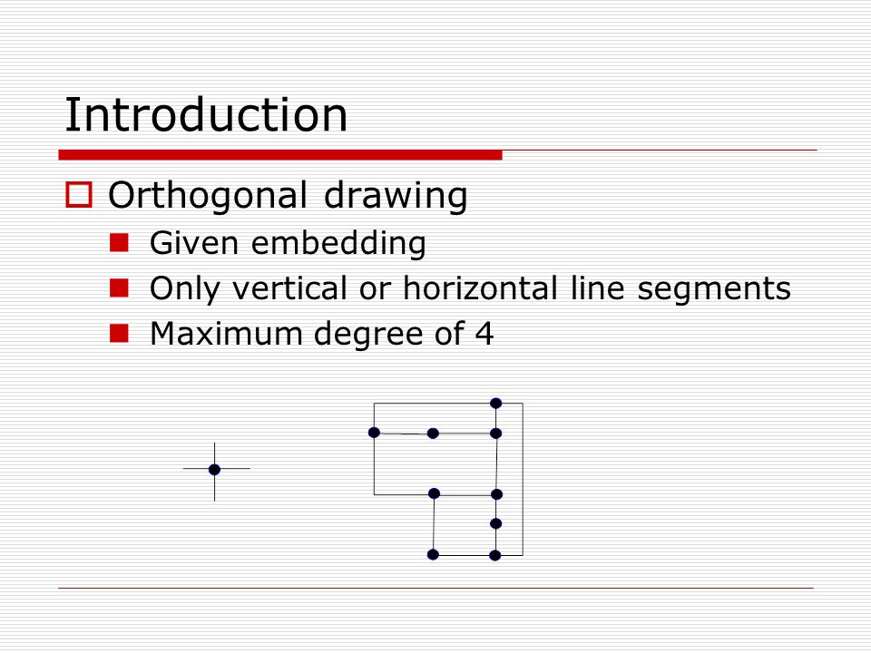 Introduction  Orthogonal drawing Given embedding Only vertical or horizontal line segments Maximum degree of 4