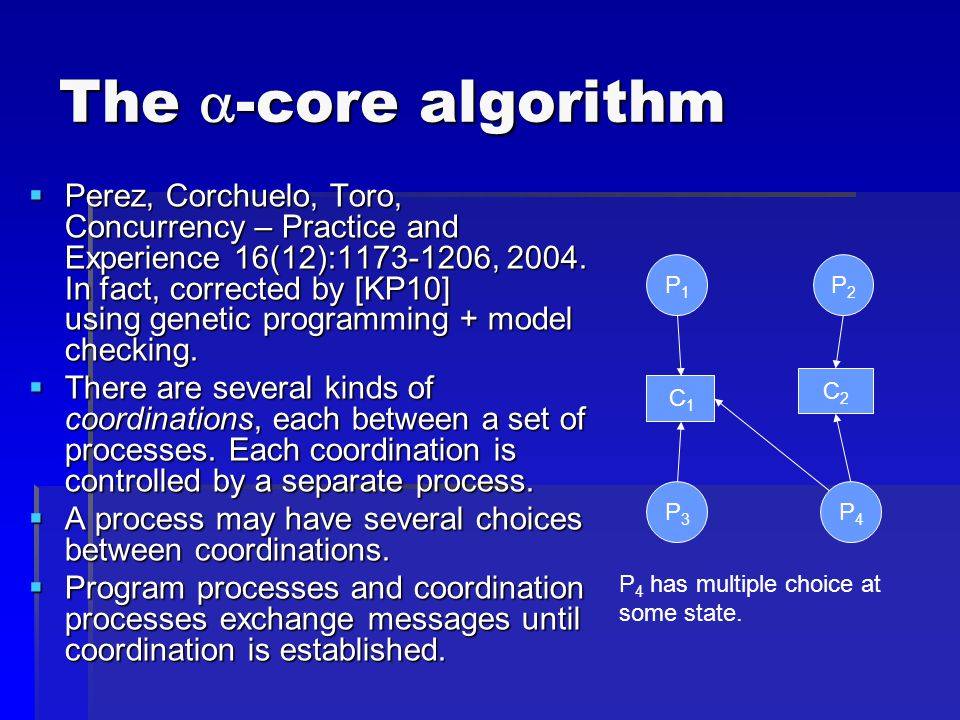 The  -core algorithm  Perez, Corchuelo, Toro, Concurrency – Practice and Experience 16(12): , 2004.