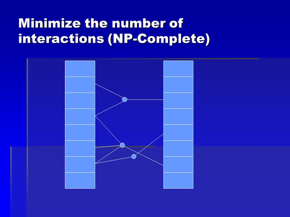 Minimize the number of interactions (NP-Complete)
