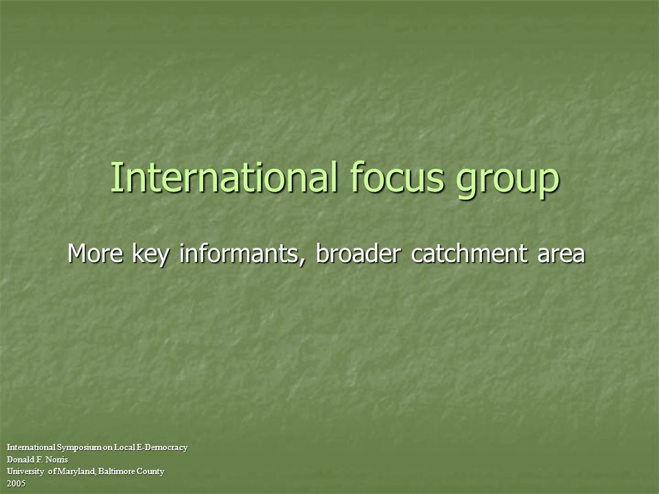 International focus group International Symposium on Local E-Democracy Donald F.
