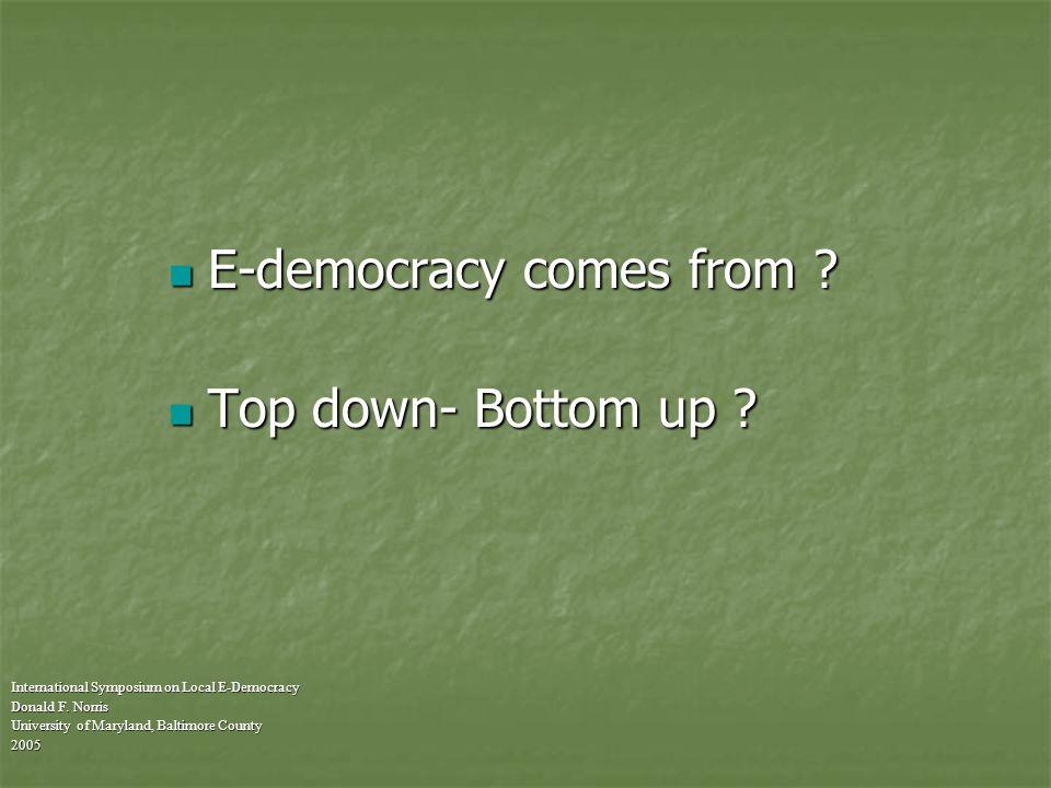 Advocates versus analysts International Symposium on Local E-Democracy Donald F.