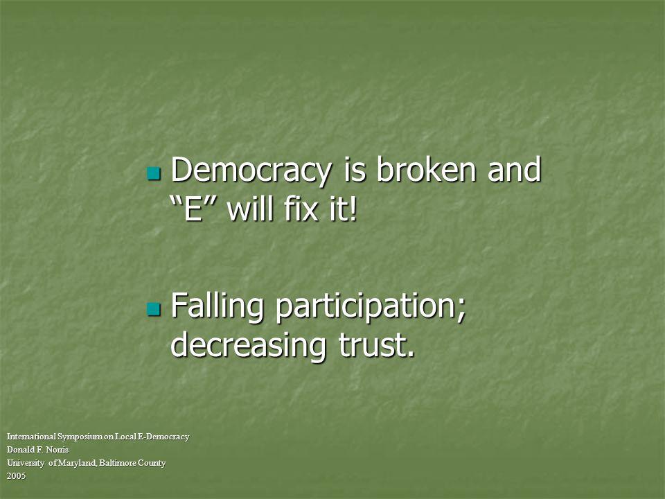 Definitions of E-democracy International Symposium on Local E-Democracy Donald F.
