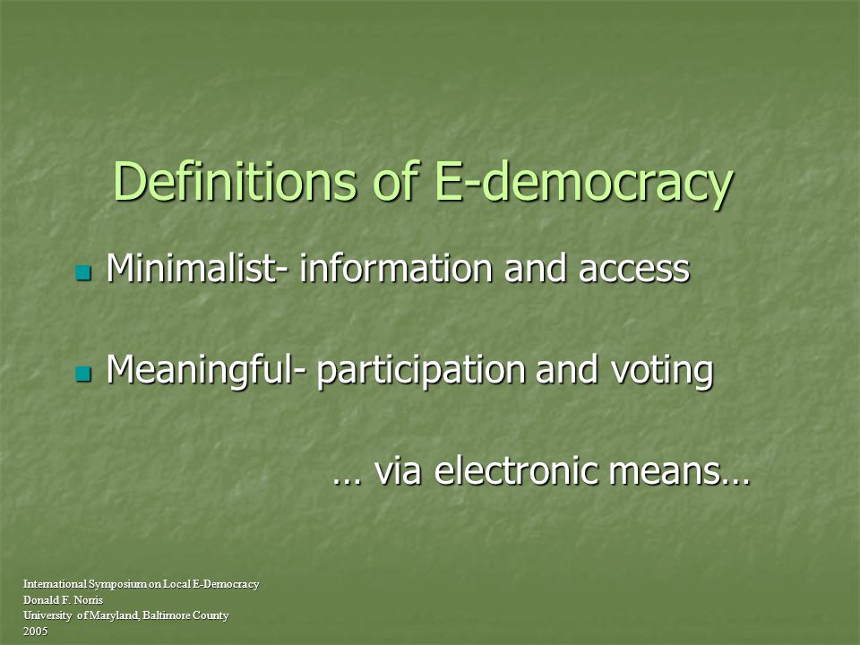 The current state of e-democracy at the American grassroots.