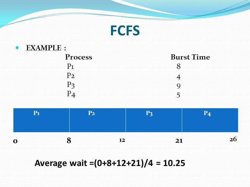 FCFS EXAMPLE : Process Burst Time P1 8 P2 4 P3 9 P4 5 0 8 12 21 26 Average wait =(0+8+12+21)/4 = 10.25 P1 P2 P3 P4
