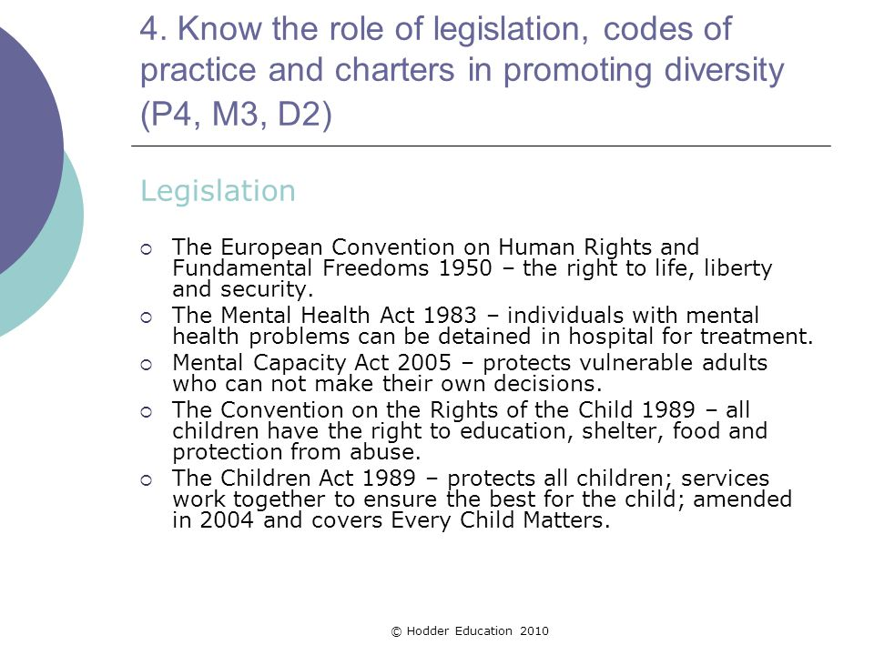 4. Know the role of legislation, codes of practice and charters in promoting diversity (P4, M3, D2) Legislation  The European Convention on Human Rig