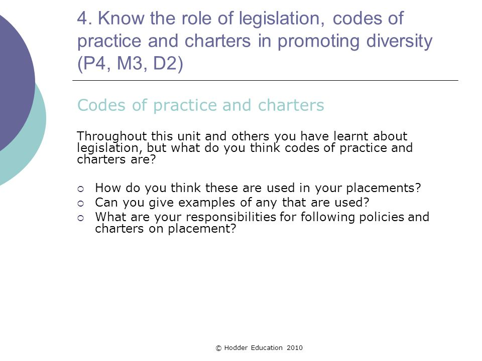 4. Know the role of legislation, codes of practice and charters in promoting diversity (P4, M3, D2) Codes of practice and charters Throughout this uni