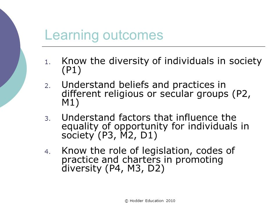 Learning outcomes 1. Know the diversity of individuals in society (P1) 2. Understand beliefs and practices in different religious or secular groups (P