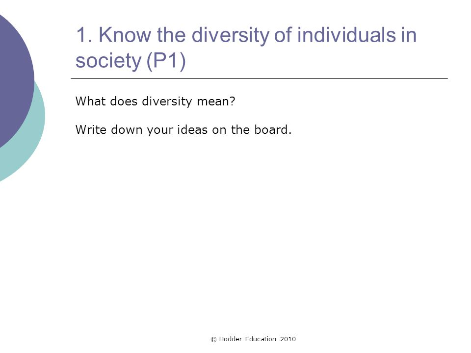 1.Know the diversity of individuals in society (P1) What does diversity mean.