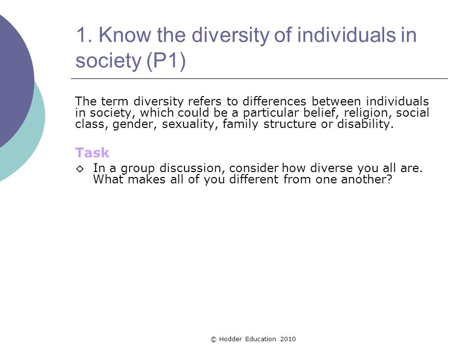 1. Know the diversity of individuals in society (P1) The term diversity refers to differences between individuals in society, which could be a particu
