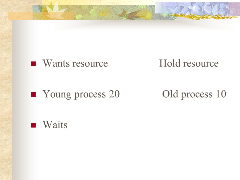Wants resource Hold resource Young process 20 Old process 10 Waits