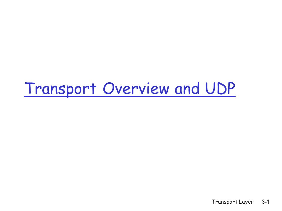 Transport Layer3-1 Transport Overview and UDP