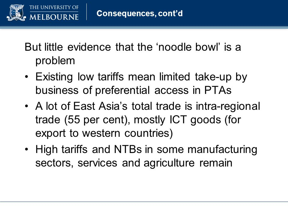 Consequences, cont'd But little evidence that the 'noodle bowl' is a problem Existing low tariffs mean limited take-up by business of preferential access in PTAs A lot of East Asia's total trade is intra-regional trade (55 per cent), mostly ICT goods (for export to western countries) High tariffs and NTBs in some manufacturing sectors, services and agriculture remain