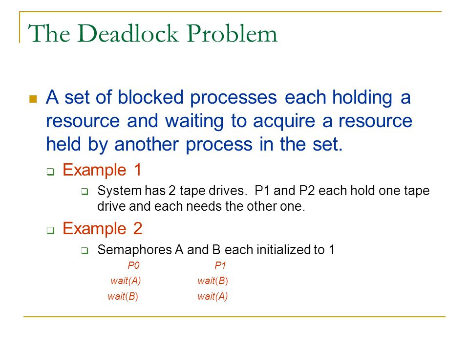 Resource Allocation Graph Algorithm Used for deadlock avoidance when there is only one instance of each resource type.