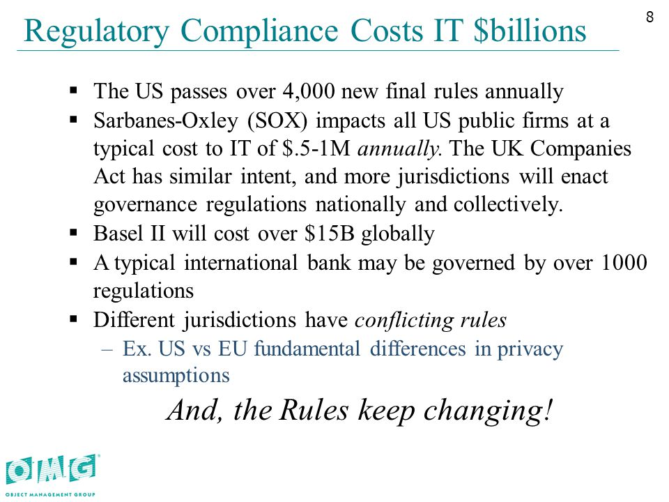 Regulatory Compliance Costs IT $billions  The US passes over 4,000 new final rules annually  Sarbanes-Oxley (SOX) impacts all US public firms at a typical cost to IT of $.5-1M annually.