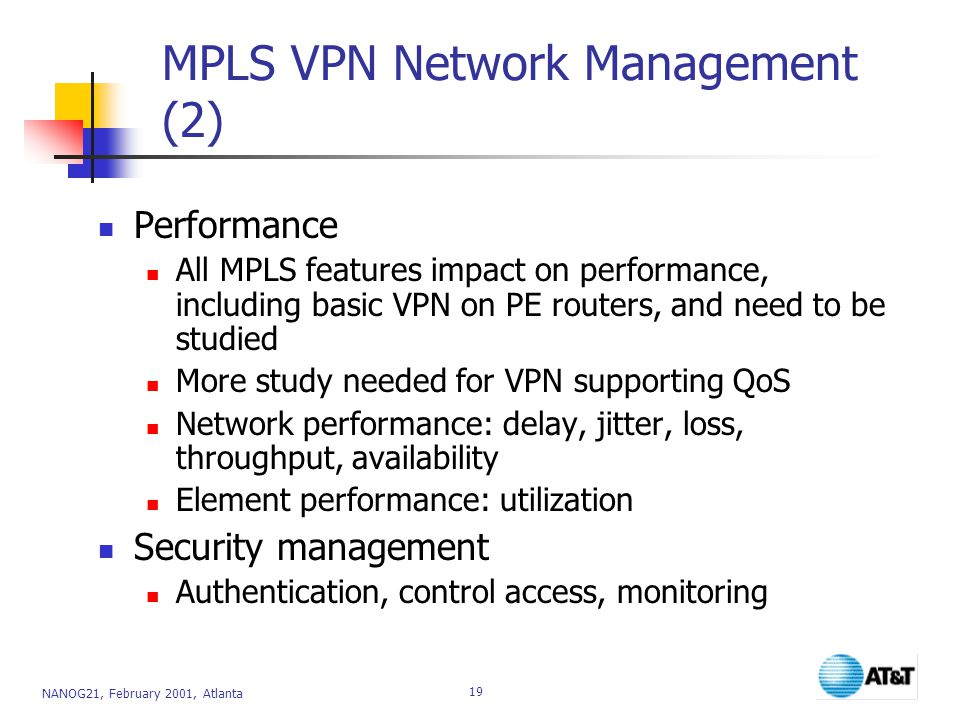 NANOG21, February 2001, Atlanta 19 MPLS VPN Network Management (2) Performance All MPLS features impact on performance, including basic VPN on PE routers, and need to be studied More study needed for VPN supporting QoS Network performance: delay, jitter, loss, throughput, availability Element performance: utilization Security management Authentication, control access, monitoring