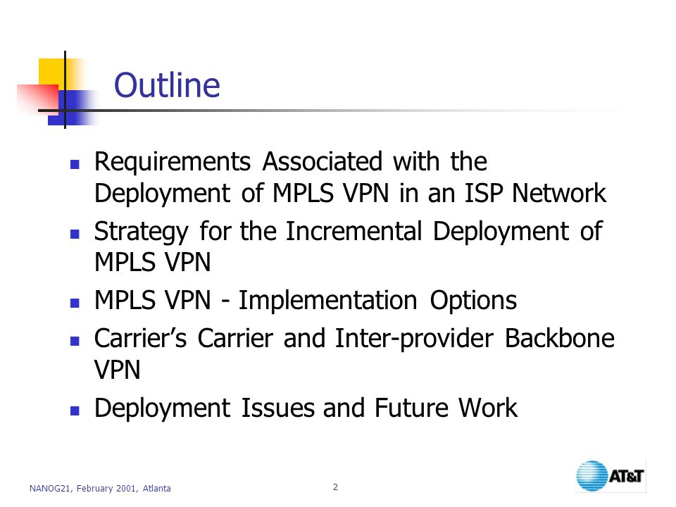 NANOG21, February 2001, Atlanta 2 Outline Requirements Associated with the Deployment of MPLS VPN in an ISP Network Strategy for the Incremental Deployment of MPLS VPN MPLS VPN - Implementation Options Carrier's Carrier and Inter-provider Backbone VPN Deployment Issues and Future Work