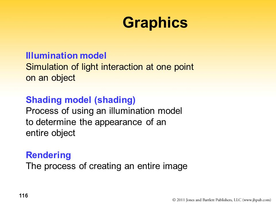 116 Graphics Illumination model Simulation of light interaction at one point on an object Shading model (shading) Process of using an illumination model to determine the appearance of an entire object Rendering The process of creating an entire image