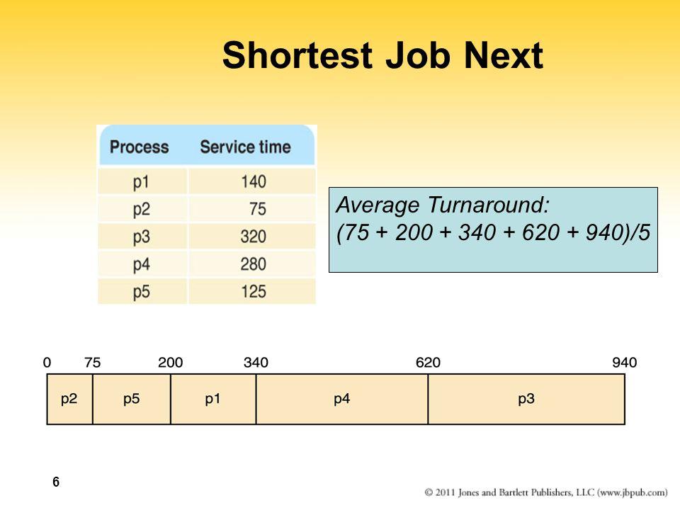 Shortest Job Next ProcessArrival TimeService TimeCompletion TimeTurnaround p10140 p24075 p350320 p4300280 p5315125 0140 p1p2 