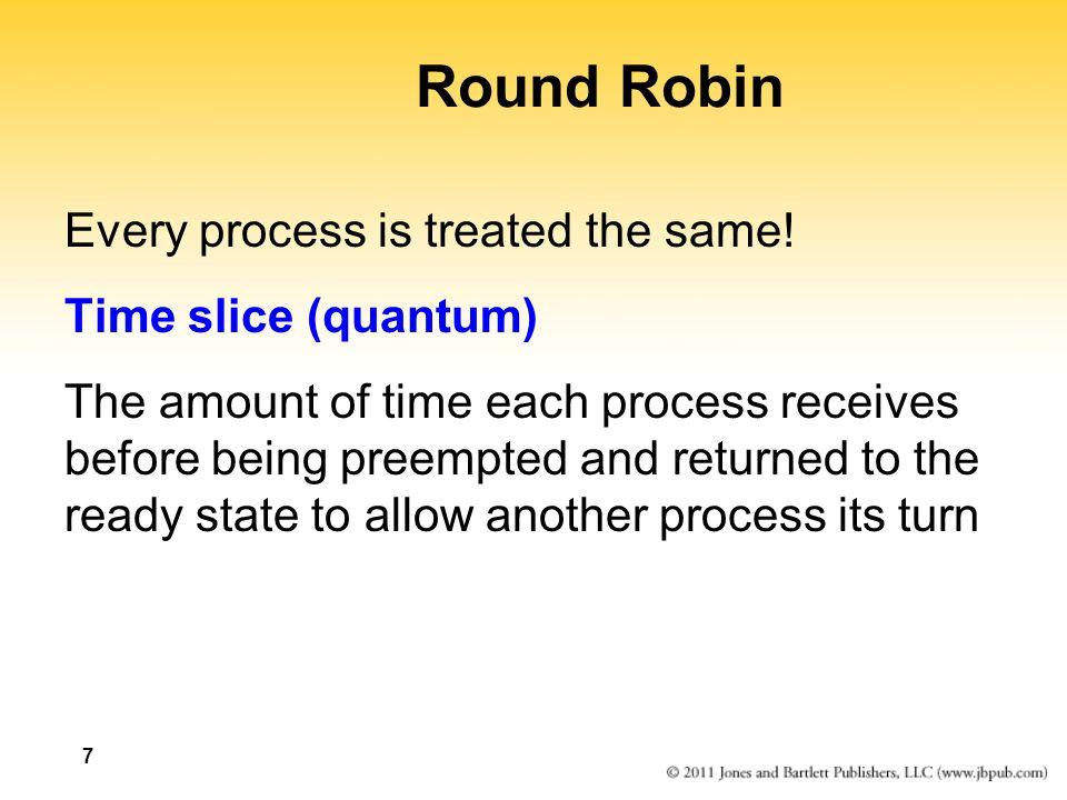 8 Round Robin Suppose the time slice is 50 Average turnaround: (515 + 325 + 940 + 920 + 640)/5