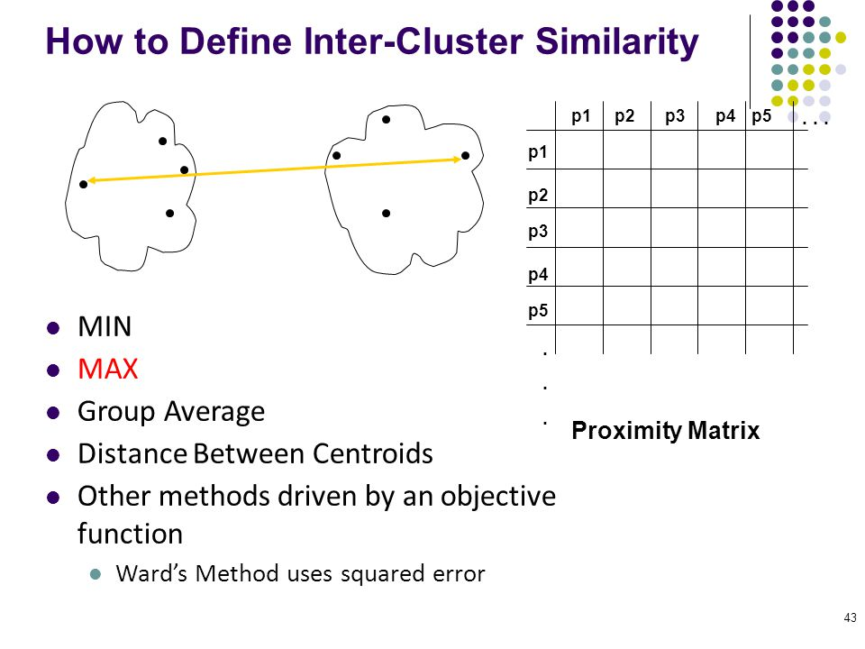 43 How to Define Inter-Cluster Similarity p1 p3 p5 p4 p2 p1p2p3p4p5......... Proximity Matrix MIN MAX Group Average Distance Between Centroids Other m