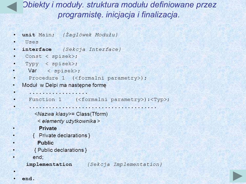 Obiekty i moduły.struktura modułu definiowane przez programistę.