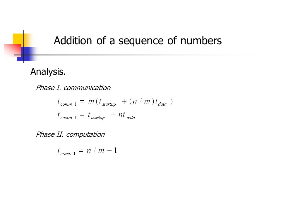 Addition of a sequence of numbers Analysis. Phase I. communication Phase II. computation