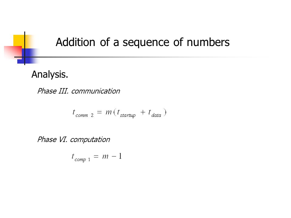 Addition of a sequence of numbers Analysis. Phase III. communication Phase VI. computation