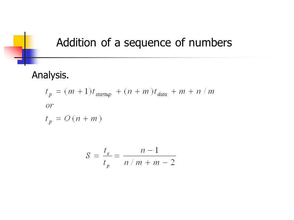 Addition of a sequence of numbers Analysis.