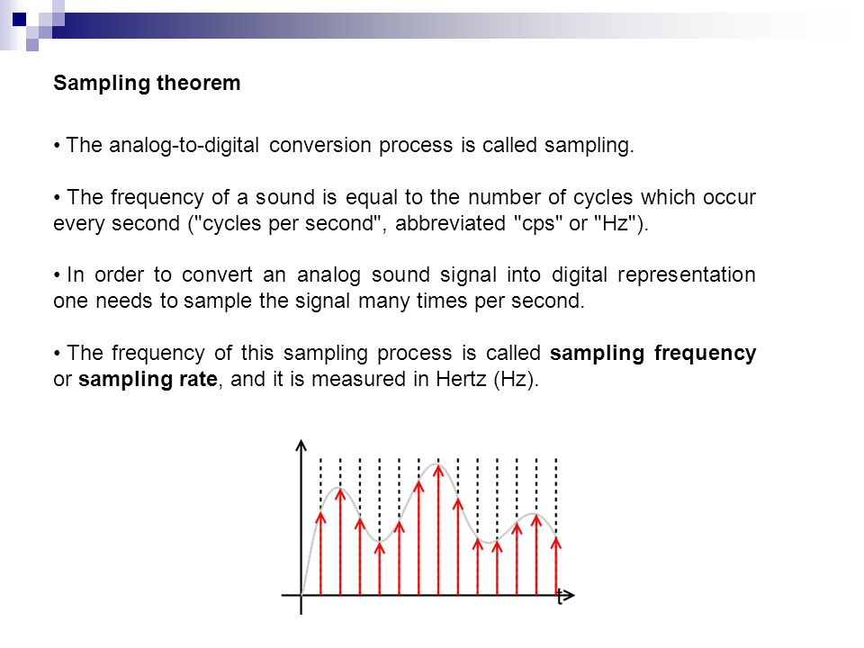 Sampling theorem The analog-to-digital conversion process is called sampling.