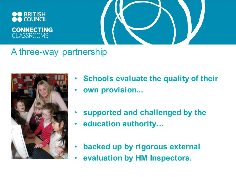 A three-way partnership Schools evaluate the quality of their own provision...
