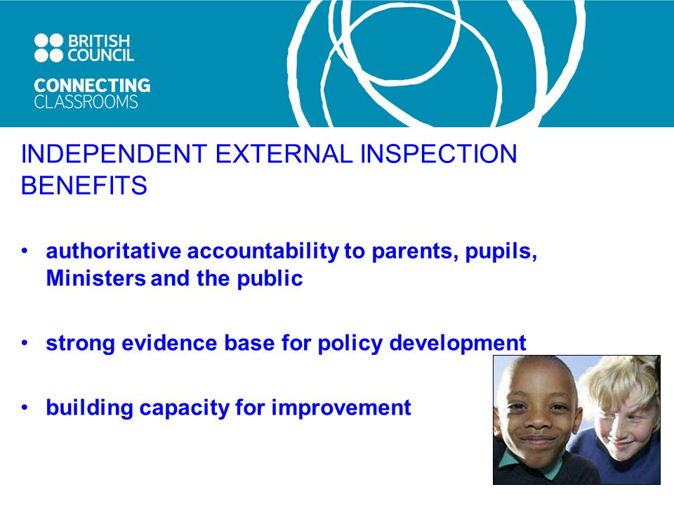 INDEPENDENT EXTERNAL INSPECTION BENEFITS authoritative accountability to parents, pupils, Ministers and the public strong evidence base for policy development building capacity for improvement