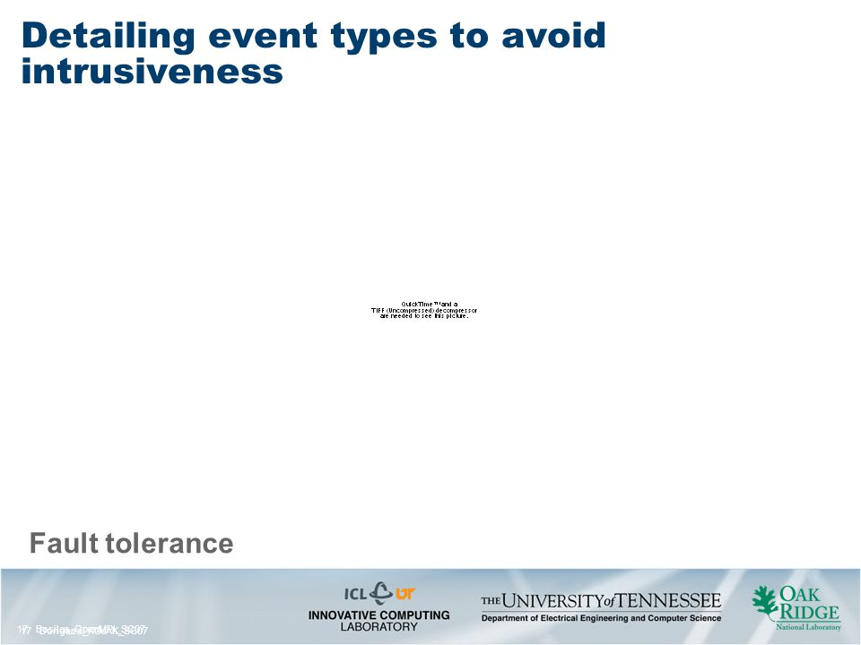 17 Bosilca_OpenMPI_SC07 17 Dongarra_KOJAK_SC07 Fault tolerance Detailing event types to avoid intrusiveness