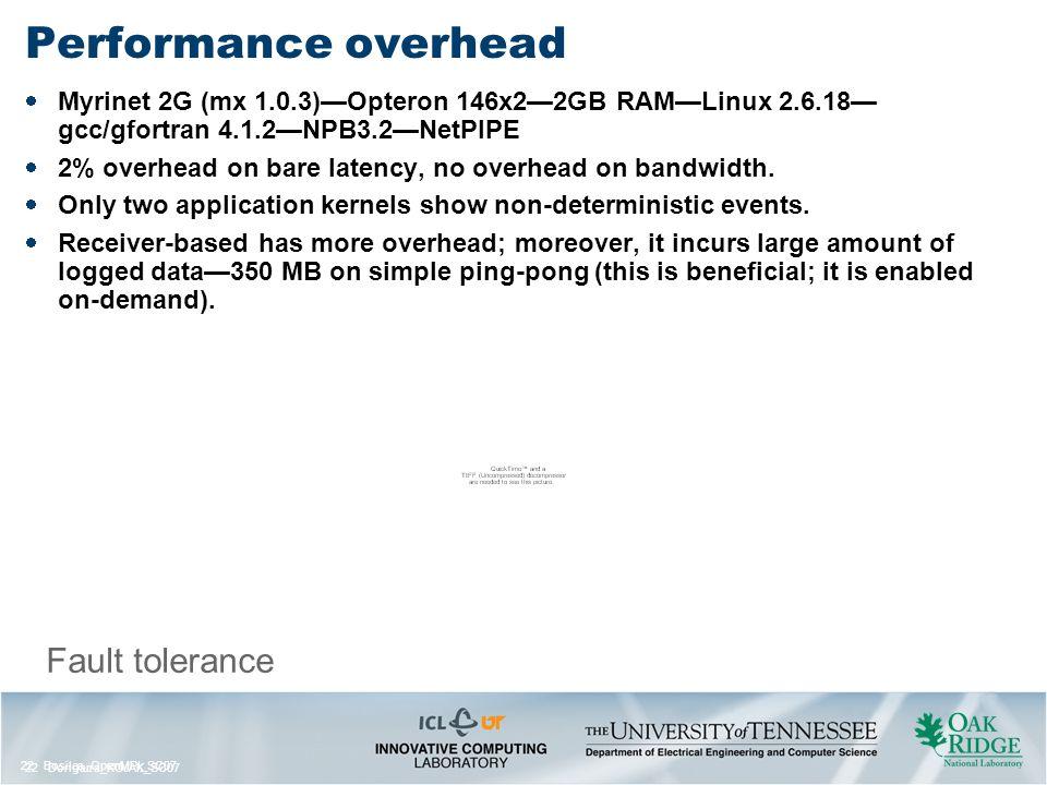 22 Bosilca_OpenMPI_SC07 22 Dongarra_KOJAK_SC07 Fault tolerance Performance overhead  Myrinet 2G (mx 1.0.3)—Opteron 146x2—2GB RAM—Linux 2.6.18— gcc/gfortran 4.1.2—NPB3.2—NetPIPE  2% overhead on bare latency, no overhead on bandwidth.