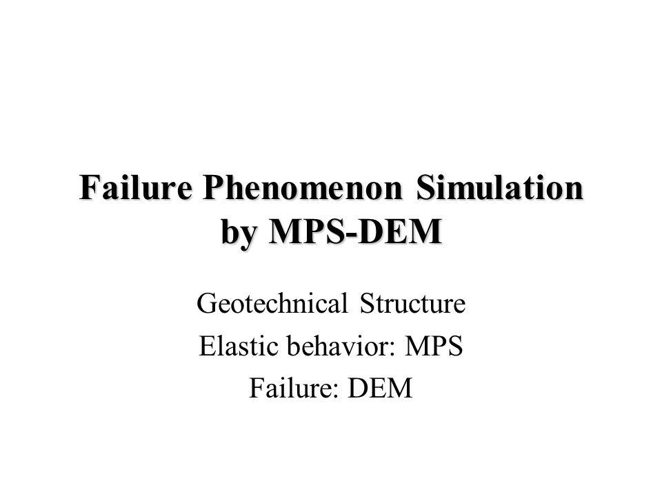 Failure Phenomenon Simulation by MPS-DEM Geotechnical Structure Elastic behavior: MPS Failure: DEM