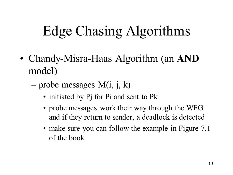15 Edge Chasing Algorithms Chandy-Misra-Haas Algorithm (an AND model) –probe messages M(i, j, k) initiated by Pj for Pi and sent to Pk probe messages