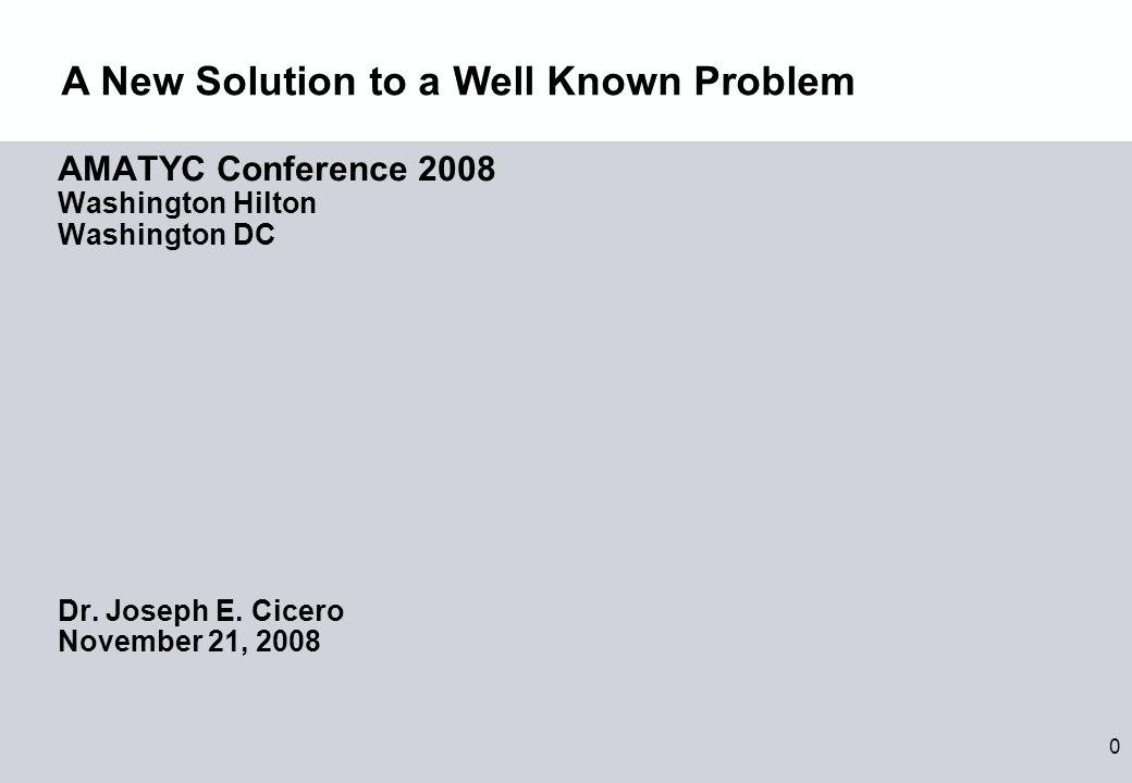 0 AMATYC Conference 2008 Washington Hilton Washington DC Dr.