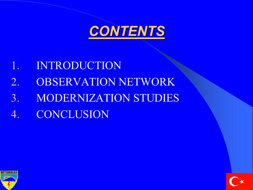 CONTENTS 1.INTRODUCTION 2.OBSERVATION NETWORK 3.MODERNIZATION STUDIES 4.CONCLUSION