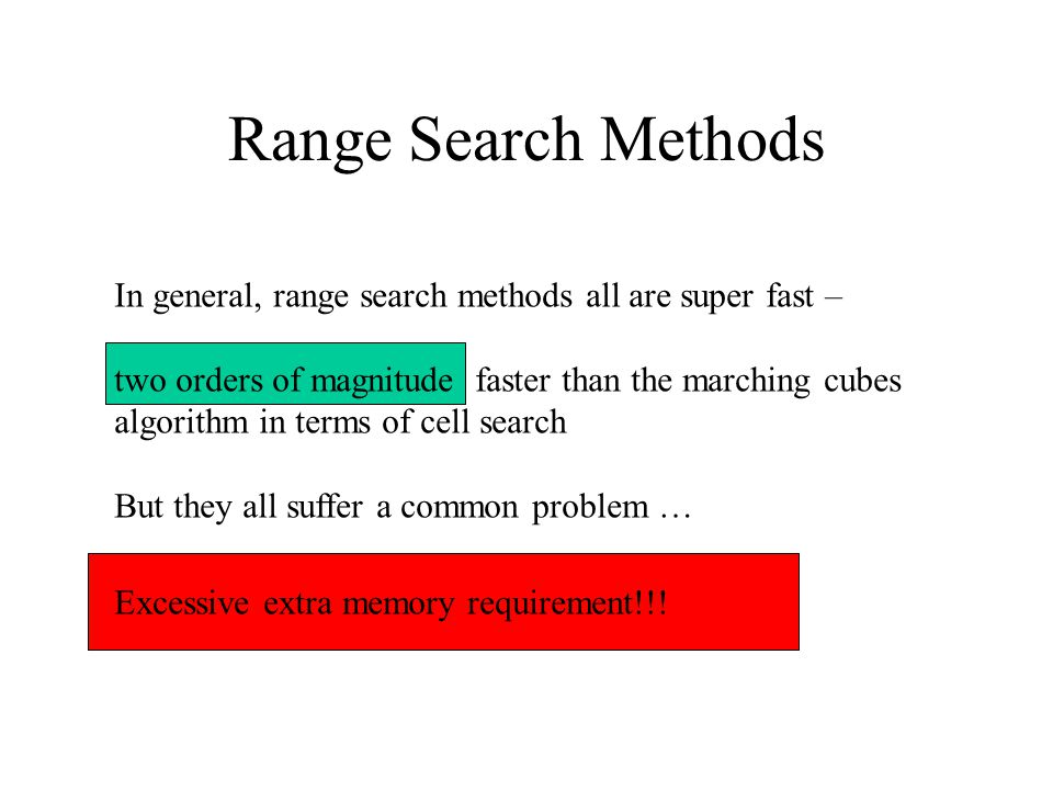 Range Search Methods In general, range search methods all are super fast – two orders of magnitude faster than the marching cubes algorithm in terms of cell search But they all suffer a common problem … Excessive extra memory requirement!!!