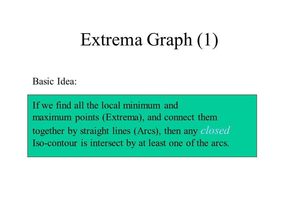 Extrema Graph (1) Basic Idea: If we find all the local minimum and maximum points (Extrema), and connect them together by straight lines (Arcs), then any closed Iso-contour is intersect by at least one of the arcs.