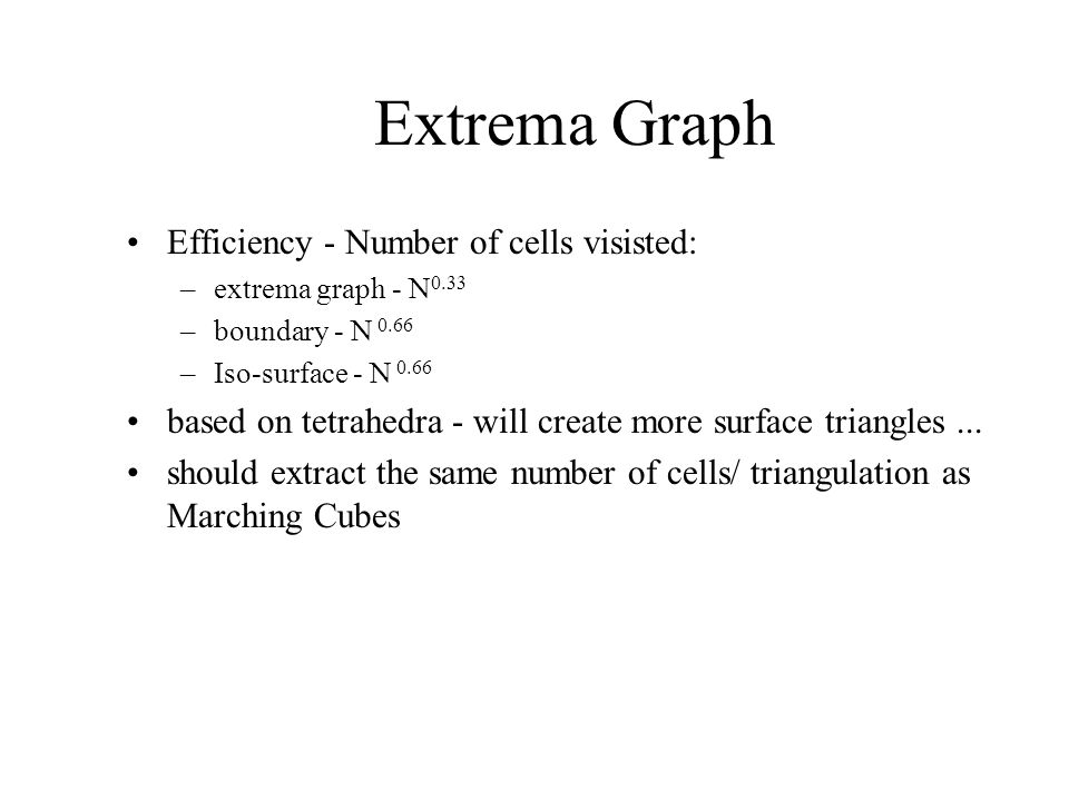 Extrema Graph Efficiency - Number of cells visisted: –extrema graph - N 0.33 –boundary - N 0.66 –Iso-surface - N 0.66 based on tetrahedra - will create more surface triangles...