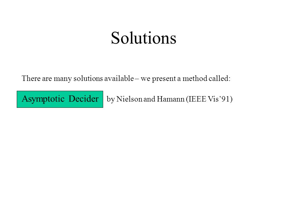 Solutions There are many solutions available – we present a method called: Asymptotic Decider by Nielson and Hamann (IEEE Vis'91)