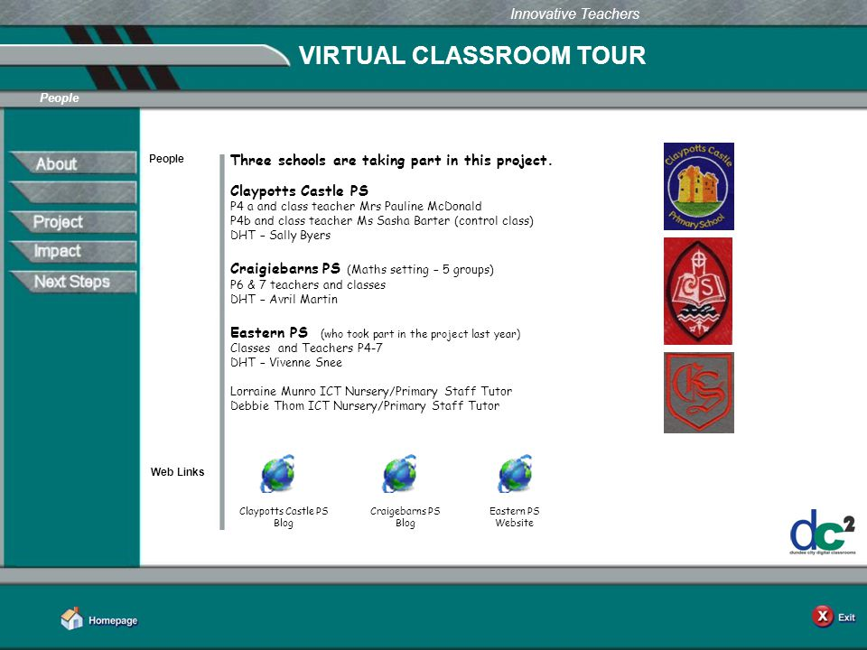Learning Together in Dundee Innovative Teachers VIRTUAL CLASSROOM TOUR People Web Links People Three schools are taking part in this project.