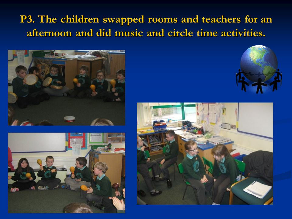 P3. The children swapped rooms and teachers for an afternoon and did music and circle time activities.
