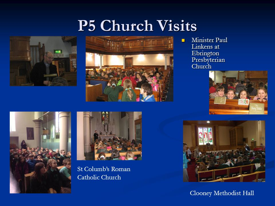 P5 Church Visits Minister Paul Linkens at Ebrington Presbyterian Church Minister Paul Linkens at Ebrington Presbyterian Church St Columb's Roman Catho
