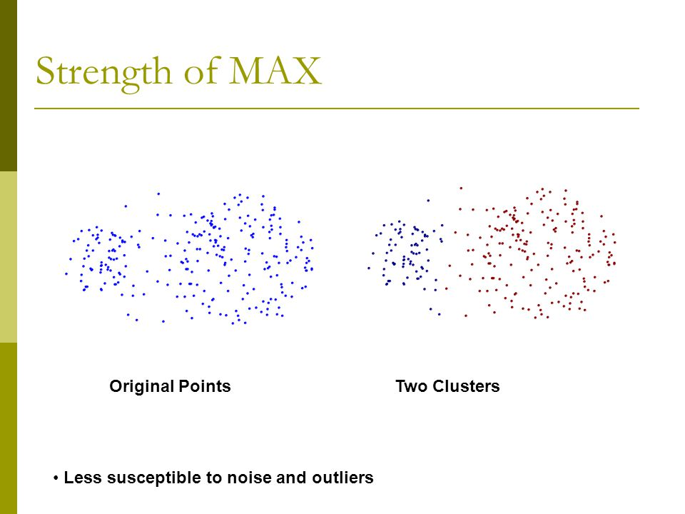 Strength of MAX Original Points Two Clusters Less susceptible to noise and outliers