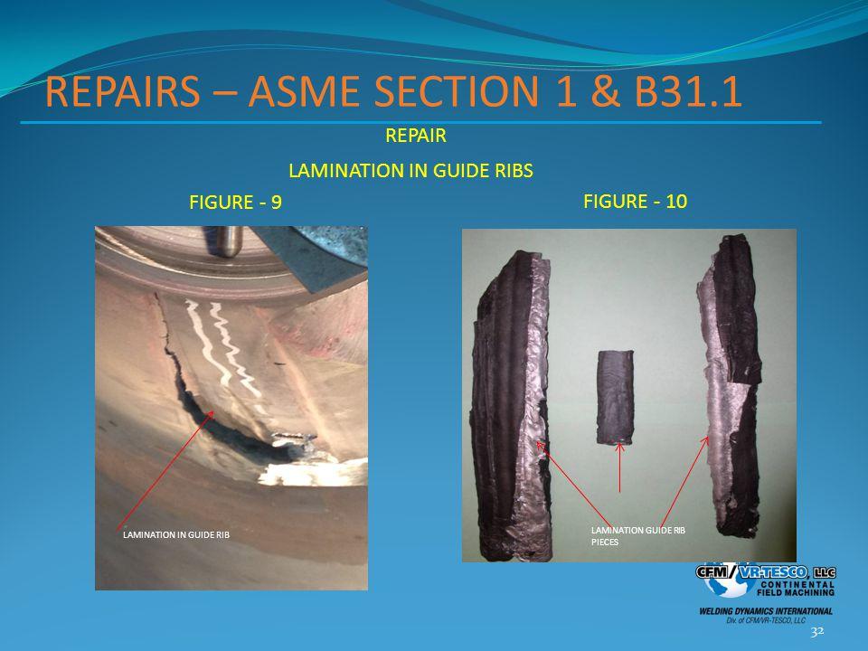 REPAIRS – ASME SECTION 1 & B31.1 REPAIR LAMINATION IN GUIDE RIBS FIGURE - 9 FIGURE - 10 32 LAMINATION IN GUIDE RIB LAMINATION GUIDE RIB PIECES