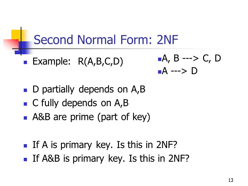 13 Second Normal Form: 2NF Example: R(A,B,C,D) D partially depends on A,B C fully depends on A,B A&B are prime (part of key) If A is primary key.