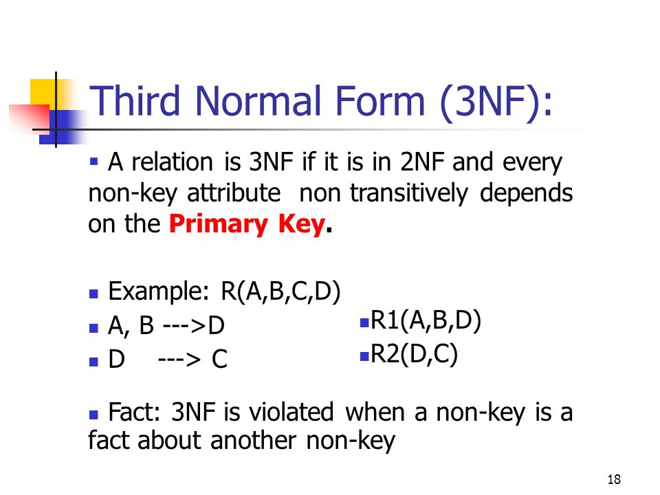 18  A relation is 3NF if it is in 2NF and every non-key attribute non transitively depends on the Primary Key.